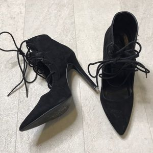 Charlotte Russe Heeled Booties Sz 7 Black Lace Up